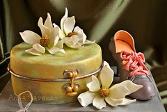 Vintage box, magnolia and retro shoe cake photo by anna savenko (sVeshti4ka)