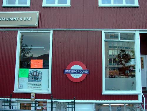 Underground Logo in  a bar in Reykjavik