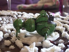 Close up of the top of the cake with Starbug, from Red Dwarf, gracing the top.