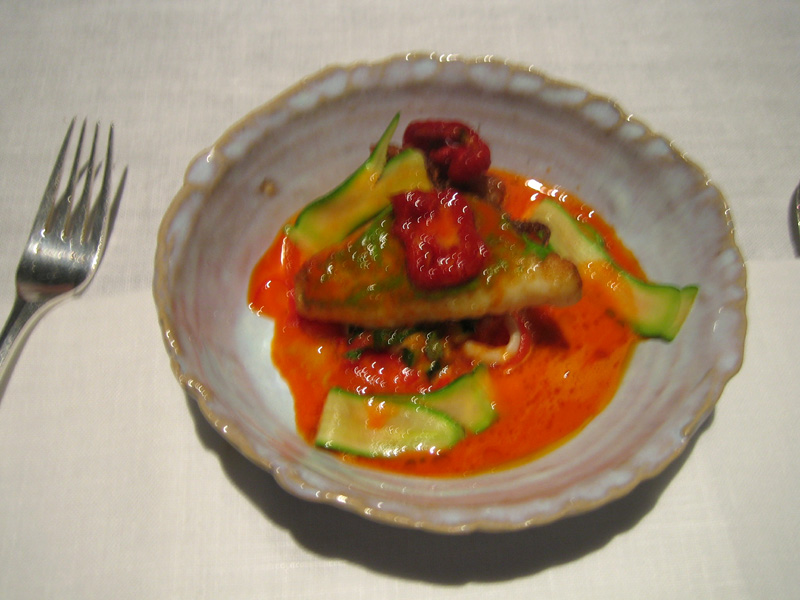 Tom Aikens - John Dory w/ Red Pepper Puree + Tomato Sauce + Baby Squid