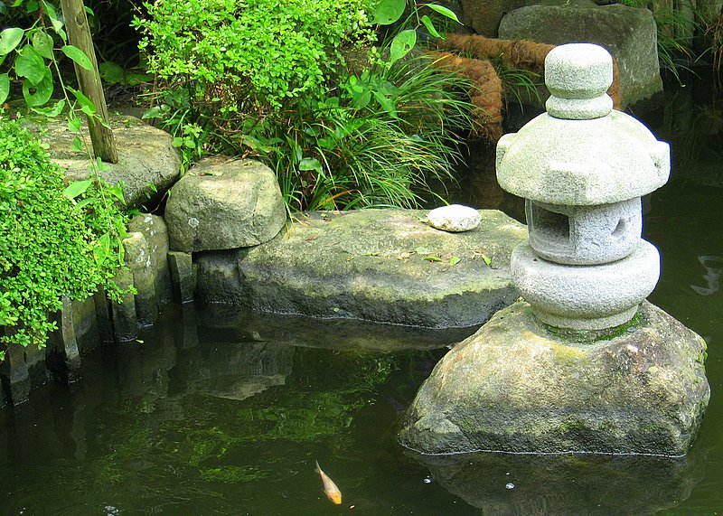 Stone lantern in a pond at Hase Temple in Kamakura