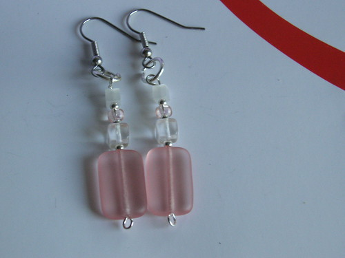 Earrings: Pink and Clear