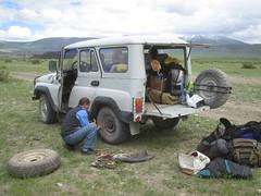 Repairing flat tire
