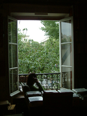 莎士比亞書店二樓的美麗窗景