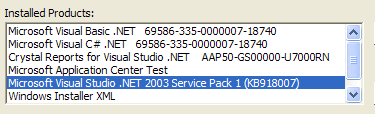 Visual Studio.NET 2003 Service Pack 1