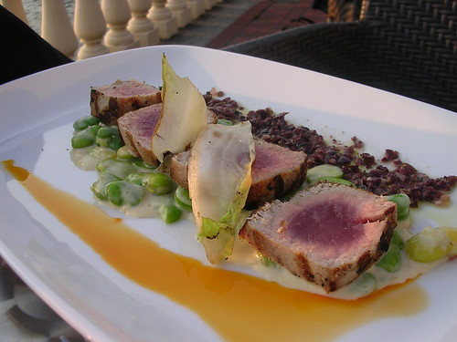 Grilled Tuna with Creamy Fava Beans and Kalamata Olive Vinaigrette