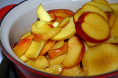 Peach Cobbler - cooking the peaches