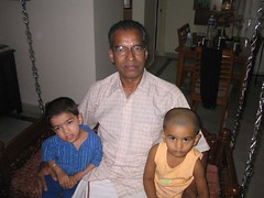 Natarajan thatha with me and Prithvi on the swing