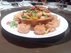 Sauteed Prawns with Walnut, Celery, and Capiscum in X.O. Sauce with Deep Fried Scallops coated with Taro