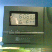 My alarm clock showing six seconds past six minutes past six on the 6th of the 6th Month 2006