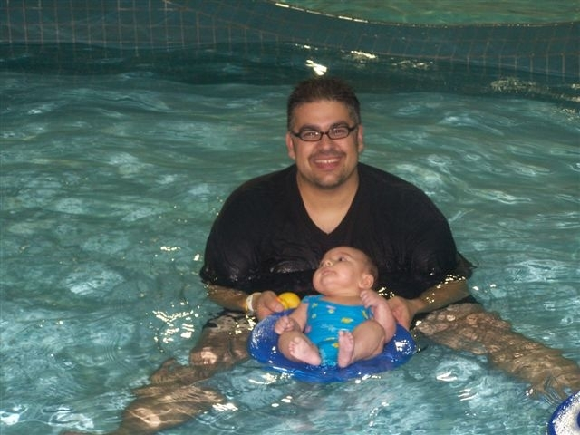 First time in the swimming pool.