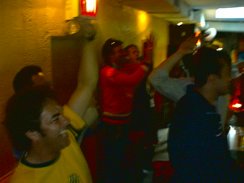 Aussies Ceelbrate Their First Goal at the Sunburnt Cow