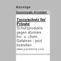 GoogleAd: Terrorschutz für Private