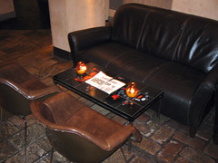Comfy seating and coffee table in back room of the Dragonfly bar, Edinburgh