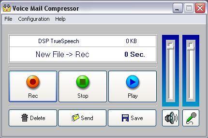 Main window of Voice Mail Compressor