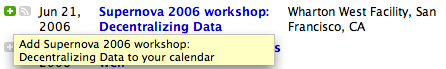 Camino browser screenshot of add to calendar button hilited green with yellow tooltip in Technorati Events Search result for Supernova