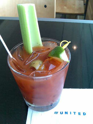 A Bloody Mary at the SFO Red Carpet Club