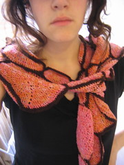 wearing crochet scarf - on loosely