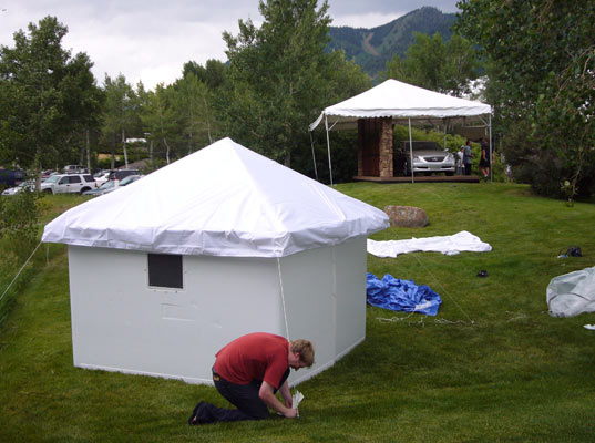Cameron Sinclair and Sarah setting up Global Village Shelters in Aspen, Architecture for Humanity, Ferrara Designs, Prefab Friday, Grenada, Disaster Relief, Design Like You Give a Damn,