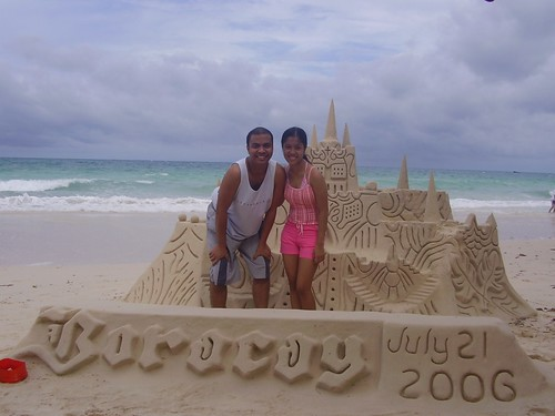 with a sandcastle