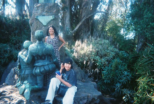 Lorna Dee Cervantes & son @ the Cervantes statue