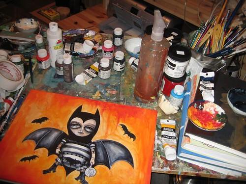 Halloween Painting in progress for MF Gallery Halloween Show