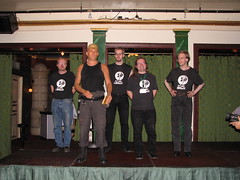 The Jet-Ace Logan Appreciation Society standing tall on the stage