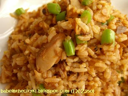 sardine fried rice closeup
