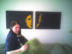 heidi with her painting of Crispin Glover