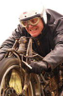Burt Munro on his beloved motorcycle