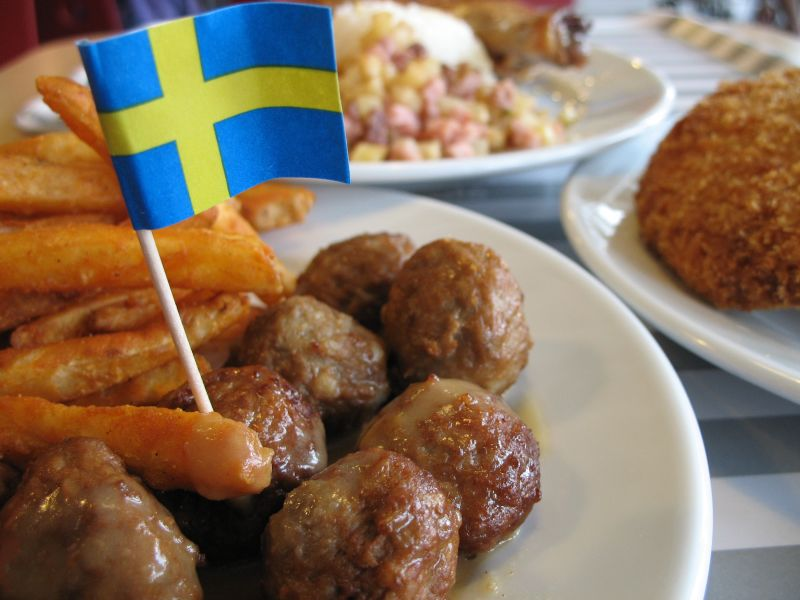 meat ball with Sweden flag