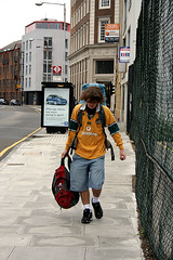 Matthew walking through London