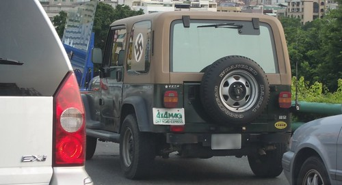 Swastika Displayed On Both Sides of a Vehicle