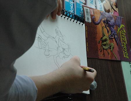 Wes sketching