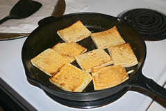 Tofu-Curried Apple Sandwiches - in the pan