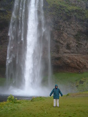 Monica at The Seljalandfoss waterfall