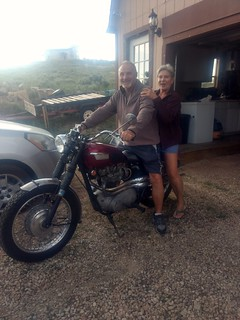 Brett and Kathy on the Triumph