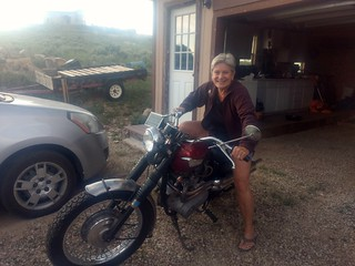 Kathy on the Triumph