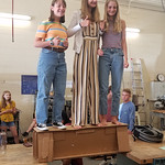 "Corrugated is strong! Students stand on a bridge made of corrugated designed and produced for ""Project Lead the Way,"" a robotics program at Patton High in Morganton, North Carolina, led by educator Clay Nelson."