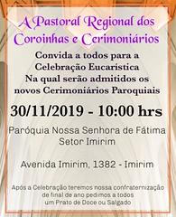 2019.29 E 30 DE NOVEMBRO E 01 DE DEZEMBRO - CERIMONIAL DE VESTIÇÃO CERIMONIÁRIAS ALINE E SOPHIA - FORMAÇÃO LITURGIA.ENVIO E PRIMEIRO MISSA
