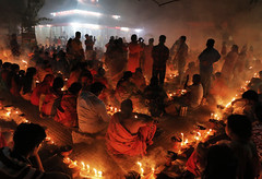 Prayer with candle, fasting festival of Hinduism