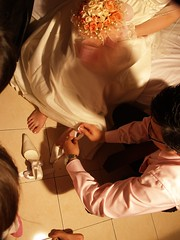 Putting the Bride's shoes on