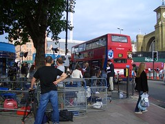 Photo of media setting up across the road from London's King's Cross station, 30 bus passing in the background