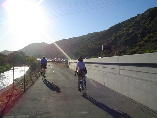 Clark and Tiff riding the SART along the 91 fwy
