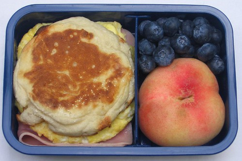 English muffin sandwich and fruit