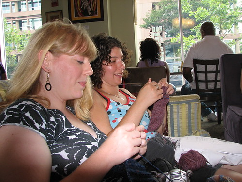 lolly and jenna knitting away