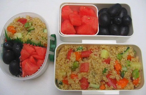 Quinoa salad lunch (mother and toddler versions)