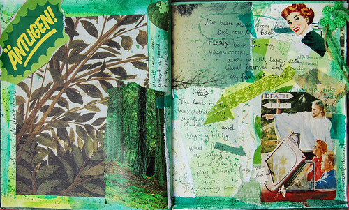 Green journal spread