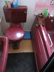 Ugliest Burgandy Bathroom on the Planet