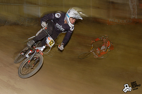 Sheffield Wheelbase Indoor Shanaze Reade leads out Tony Fleming